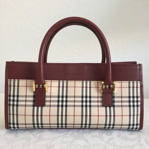 Burberry check leather trim tote
